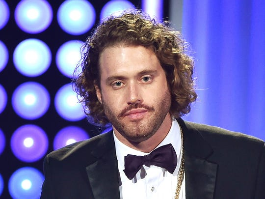 T. J. Miller at the Critics' Choice Television Awards in 2015, has been accused of sexual assault.