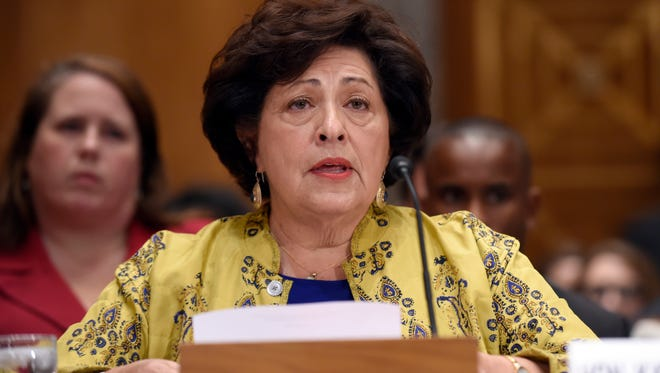 Office of Personnel Management Director Katherine Archuleta testifies on Capitol Hill in Washington last month.