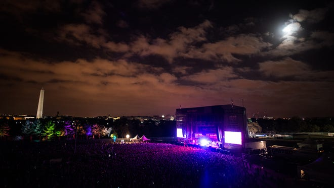 The Strokes perform Sunday night at the Landmark Music Festival in Washington, D.C.