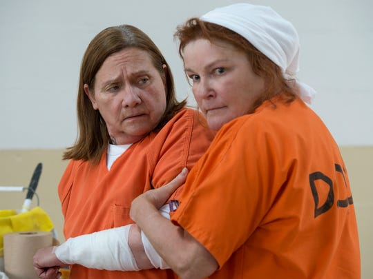 "Dale Soules and Kate Mulgrew in a scene from Season 6 of ""Orange Is The New Black."""