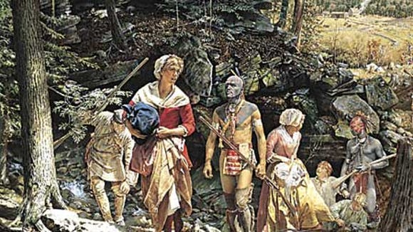 This painting hangs in Spring Grove's Library. It shows Mary Jemison becoming a captive to Indians in then-York County in the 18th century.