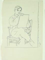 Picasso did this pencil-on-paper self-portrait  between 1918 and '20.