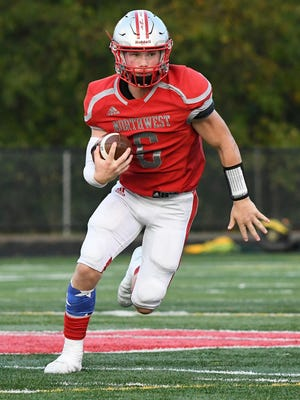 Northwest's Jordan Mick threw for 313 yards and five touchdowns on Sept. 4 against CVCA. Mick changed his jersey number from #6 to #2 this season.