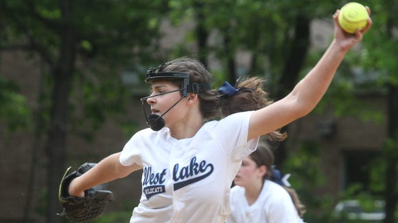 Westlake's Allison Brunetto delivers a pitch during a Section 1 Class B softball quarterfinal with Pleasantville at Westlake May 23, 2016.