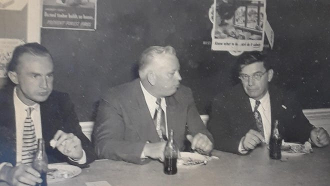 """Temo CalIahan says: """"I wonder if anyone remembers Judge Eugene Bailey. He was judge of the inferior court in Tuscaloosa until his tragic death in a boating accident in the Tennessee River in the late 1950s. Here he is pictured (center) at a school function between D.O. McClusky, longtime administrator of Druid City Hospital, and my dad A.K. (""""Temo"""") Callahan (right) who practiced law in Tuscaloosa 72 years (surely a record) and served five terms in the Alabama Legislature. Judge Bailey was a kind man and a fair judge."""" Comments? Reach Betty Slowe at bettyslowe6@gmail.com."""