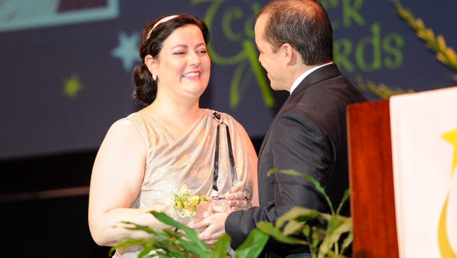 The Teacher of the Year for the Inspirational Category is Lian Cheramie,  theater teacher at Lafayette High. She was give the award by the Lafayette Education Foundation at their awards ceremony Wednesday.