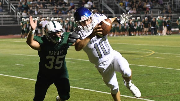 NV/Demarest QB Austin Albericci earned a NorthJersey.com Week 3 game ball after completing 25-of-31 passes for 315 yards and two TDs in the Norsemen's win over Northern Highlands.