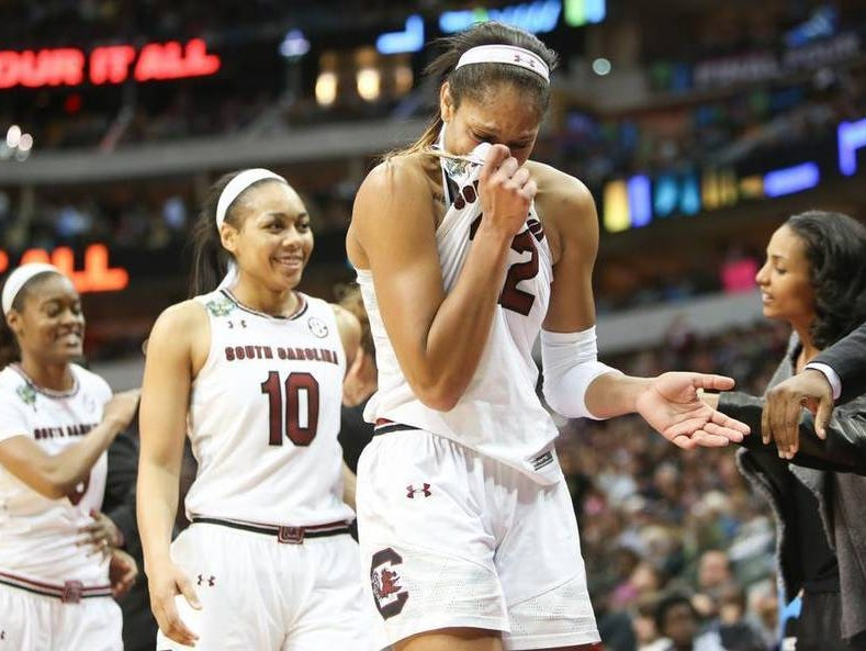 South Carolina's A'ja Wilson begins to cry as she checks out of the game in the closing moments of the Gamecocks' national championship win.