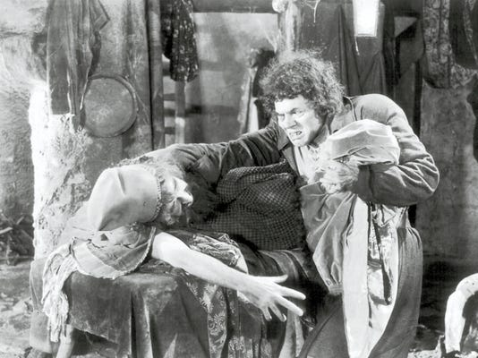 "In terms of his makeup achievement Lon Chaney's ""The Hunchback of Notre Dame"" (here seen haggling over the price of dry goods) deserves the designation of ""classic."""