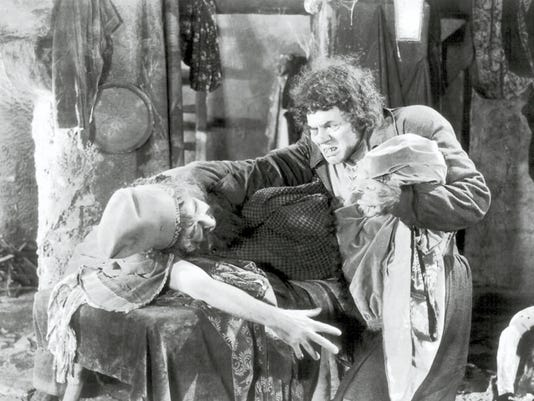 """In terms of his makeup achievement Lon Chaney's """"The Hunchback of Notre Dame"""" (here seen haggling over the price of dry goods) deserves the designation of """"classic."""""""