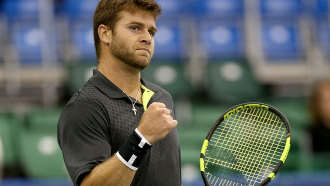 Ryan Harrison (USA) reacts as he scores a point against Konstantin Kravchuk (RUS) during their match at the Memphis Open. (Nikki Boertman/The Commercial Appeal)