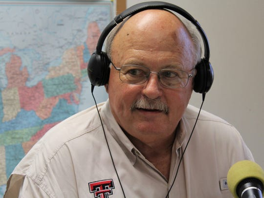 """Jack Rentz listens to a caller during his appearance Thursday on """"The Professors,"""" a local radio talk show hosted by McMurry University political science professor Paul Fabrizio."""