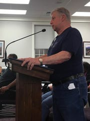 Waynesboro resident Tom McDonald addresses city council over the proposed property tax rate increase in the city at a city council meeting on Monday, April 24, 2017.