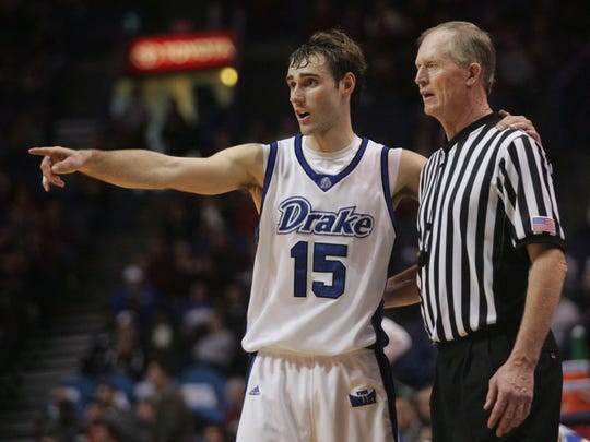 Drake's Adam Emmenecker makes a point to an official during the second half against Indiana State in the 2008 Missouri Valley Conference tournament at the Scottrade Center in St. Louis.