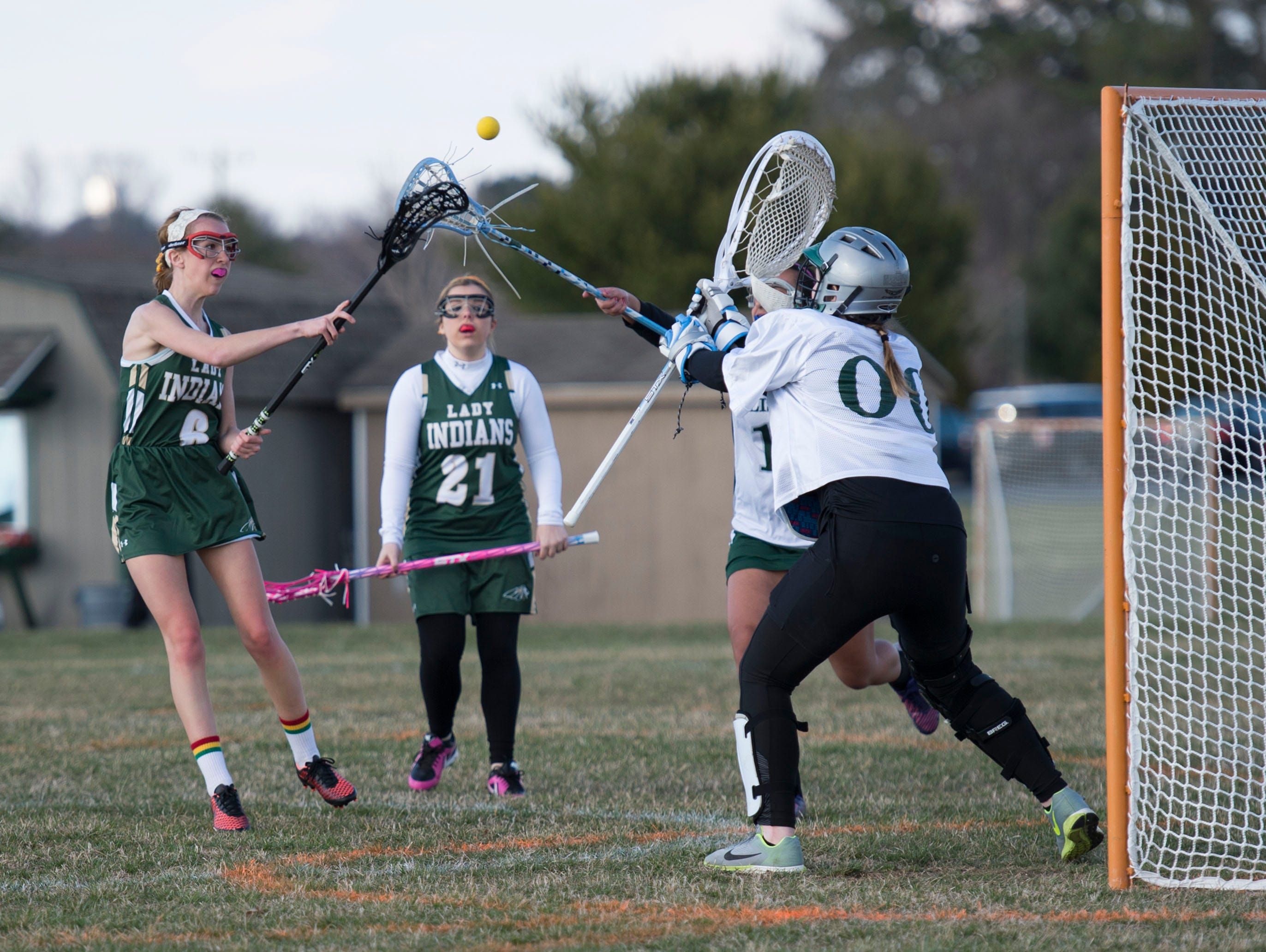 Indian River's Helen Davis takes a shot on goal against Salisbury School.