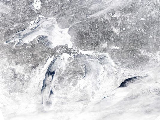 A satellite photo shows the Great Lakes on Sunday, March 2, 2014.
