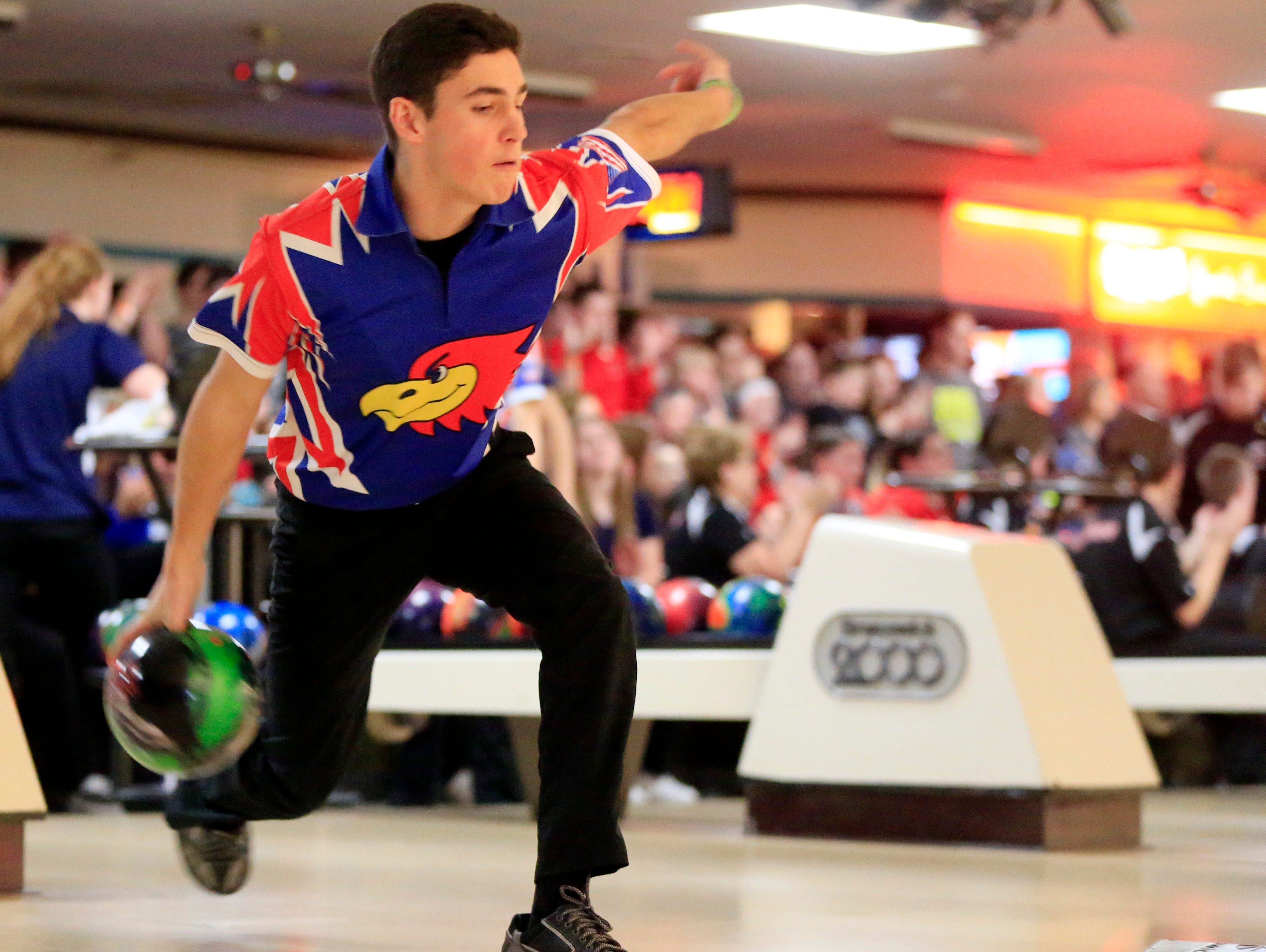 Alec Reseland of Urbandale bowls in the Iowa high school state bowling tournament Tuesday, Feb. 21, 2017.