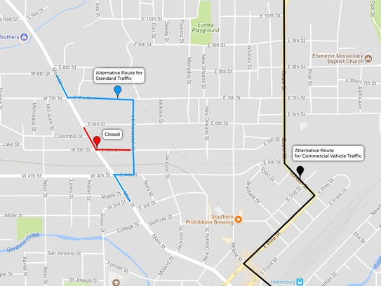 Hattiesburg To Close Main St Near Mount Carmel Because Of Safety - Map of main