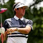 Bubba Watson reacts to his shot from the fourth tee during the first round of the Travelers Championship at TPC River Highlands on June 25, 2015 in Cromwell, Connecticut.