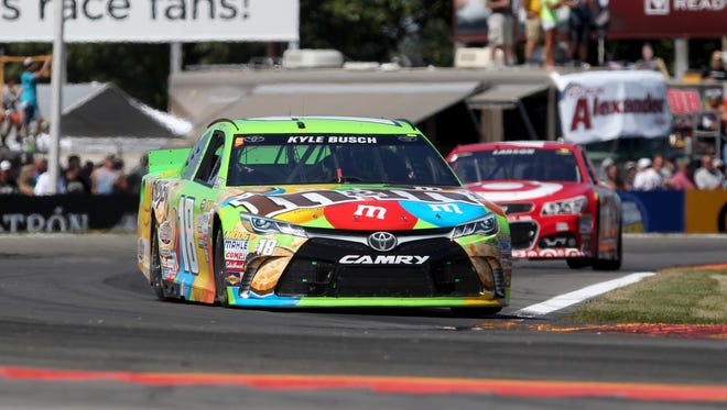 Kyle Busch, front, finished second Sunday in the Cheez-It 355 at Watkins Glen International.