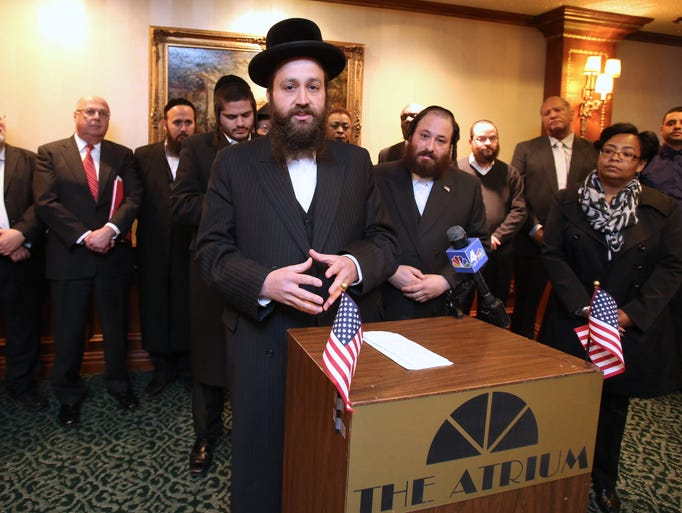 Yisroel Kahan of Monsey speaks during a news conference to announce a revived effort to change the state education funding formula regarding the East Ramapo School District April 29, 2014.