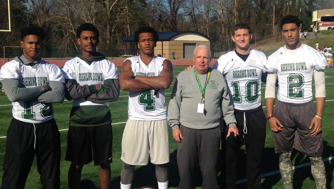 Reynolds senior Rico Dowdle, far left, is down in Spartanburg, S.C., for the Shrine Bowl as is Asheville High assistant coach Charlie Metcalf, third from right.
