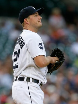 Jordan Zimmermann after giving up a solo homer to the Yankees' Gary Sanchez in the first inning Aug. 23, 2017 in Detroit.