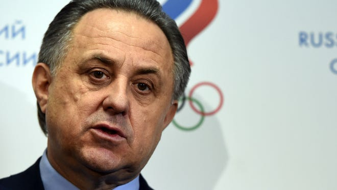This file photo taken on Jan. 16, 2016 shows Russia's Sports Minister Vitaly Mutko addressing the media.