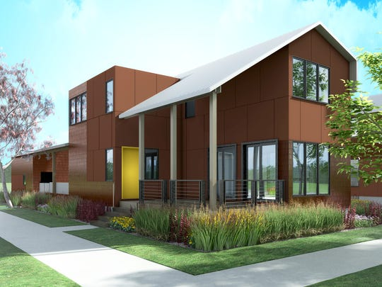 Rendering of one of the Eco Homes, a development by Midtown Detroit Inc. of single-family houses at 4th and Alexandrine on the western edge of Detroit's Midtown district.