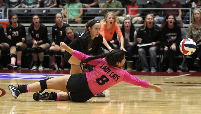 Archer City's Audry Lopez isn't able to reach the ball in time in the 2A State Volleyball Championship against Iola Thursday, Nov. 17, 2016, at the Curtis Culwell Center in Garland. Iola defended it's state championship with a 3-1 (25-20, 25-21, 25-27, 28-26) win over Archer City.