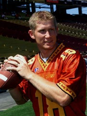 Iowa State quarterback Sage Rosenfels was drafted in the fourth round of the 2001 NFL Draft by the Washington Redskins.