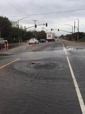 Crews were working to shore up a water main break on Santa Rosa Road at Blanchard Road.