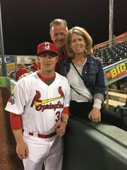 Springfield Cardinals pitcher Mike O'Reilly with his parents.