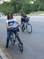Ariana Andres and her mom, Christine Andres take a bike stroll together.