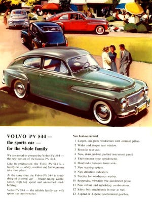 "The Volvo PV544 ""Humpback"" was a popular foreign car here in the states, and also performed well in SCCA road racing. The design lasted from 1946 through 1966 with few changes and was 100% a Sweden-built vehicle."