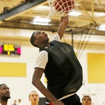 Park Tudor forward Jaren Jackson drives to the basket for a dunk during the Purdue men's basketball Elite Camp this past August.