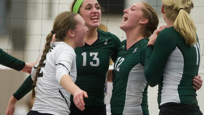 From left, D.C. Everest's Allyssa Frahm, Regan Stefan, Emily Bauman, and Natalie Mohring celebrate a point during the Division 1 volleyball sectional semifinal playoff game at Marshfield High School, Thursday, Oct. 29, 2015.