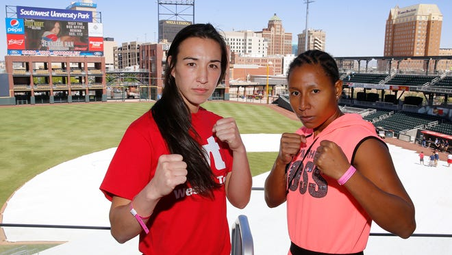 IBF World Featherweight champion Jennifer Han, left, will square off against the No. 6 world contender, Calista Silgado, on Friday night in a 10-round bout at Southwest University Park. This will be Han's first title defense since becoming champion.