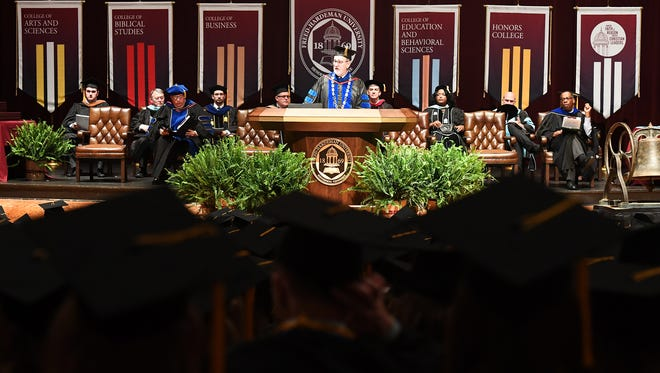 Former Freed-Hardeman University President Dr. Joe Wiley gives the commencement address, Saturday, May 13, 2017.