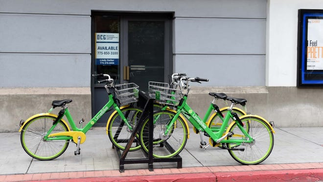 LimeBike has arrived in Reno. Lime bikes scattered through out Reno can be rented for 30 minutes for $1 using an app. Here is what the bikes look like.