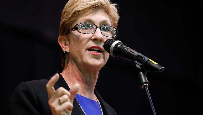 FILE - In this May 8, 2018 file photo, Clark County Commission member Chris Giunchigliani speaks during a forum for Nevada gubernatorial candidates in Las Vegas. Campaign finance reports show Democrat Steve Sisolak has been spending heavily as he battles fellow Clark County Commission member Giunchigliani in a Nevada primary race for governor. (AP Photo/John Locher, File)
