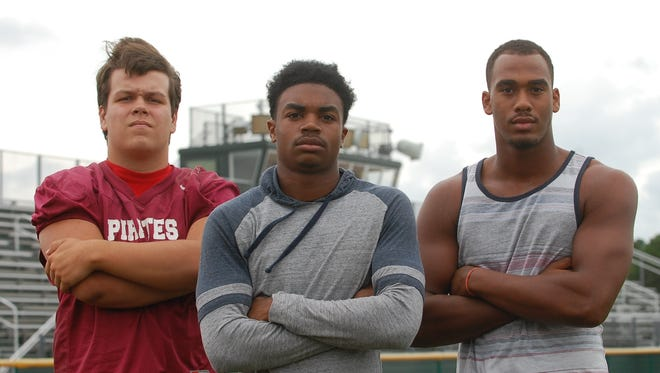 Owen Bowles (left), Bo Melton and Isaiah Watson are three players to keep an eye on this season as the Cedar Creek High School football team looks to defend its South Jersey Group 2 title.