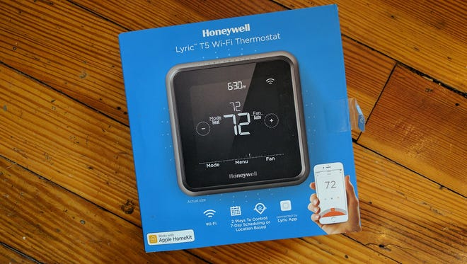 The Honeywell Lyric T5 Wi-Fi Thermostat packaging.