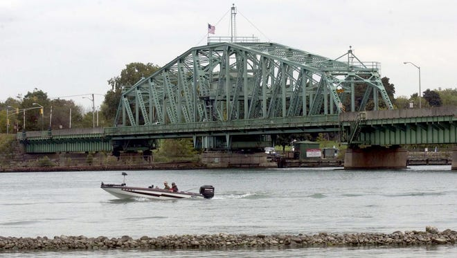The Wayne County bridge at the south end of Grosse Ile.