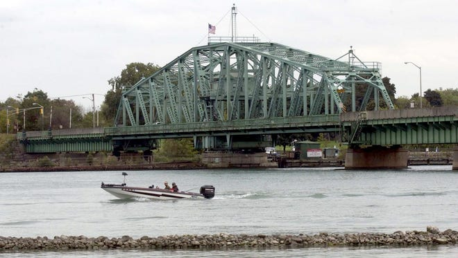 View from the Trenton side of the Wayne County bridge that connects the south end of Grosse Ile to Trenton.