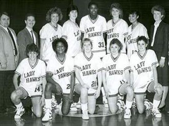 Former Neptune standout Michelle Allen, second from the left in the bottom row, shown as a member of the 1987-88 Monmouth College team.