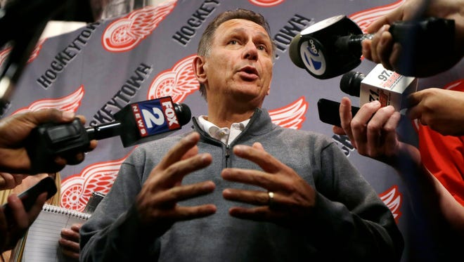 Detroit Red Wings General Manager Ken Holland addresses the media.