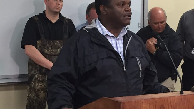 Monroe Mayor Jamie Mayo at  a recent news conference about flooding
