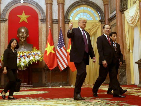 President Trump is pictured with Vietnamese President