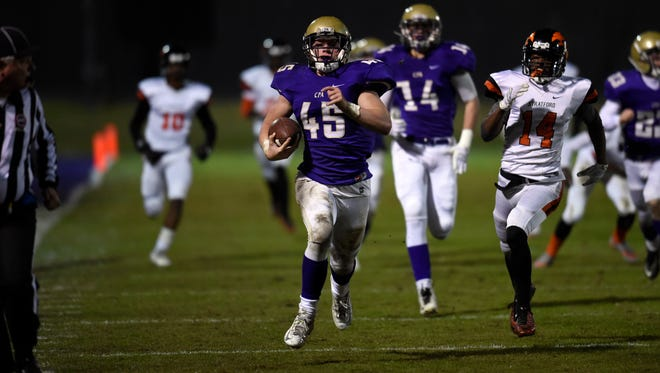 CPA kick returner Chip Omer (45) returns the ball for an 82 yard touchdown against Stratford during their game Friday Nov. 13, 2015, in Nashville, Tenn.
